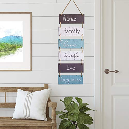 Excello Global Products Large Hanging Wall Sign: Rustic Wooden Decor (Home, Family, Love, Laugh, Live, Happiness… 5