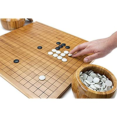 Brybelly Go Set with Reversible Bamboo Go Board | Measures 19x19 & 13x13 and Includes Bowls & Bakelite Stones | 2-Player - Classic Chinese Strategy Board Game: Toys & Games