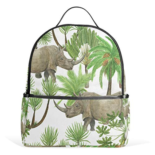 MOBEITI Mini Backpack for Girls Watercolor Painting Seamless Pattern Rhinoceros Palm Travel Bags Womens Casual Fashion School Sport Outdoor Daypack Accessories Ruchsack