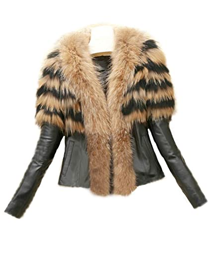 Runyue Mujer Otoño Invierno Abrigo de Pelo Sintético Chaquetas Cuero de la PU Chaqueta Parka Outwear