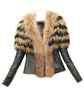 Runyue Mujer Otoño Invierno Abrigo de Pelo Sintético Chaquetas Cuero de la PU Chaqueta Parka Outwear Amarillo 3XL: Amazon.es: Deportes y aire libre