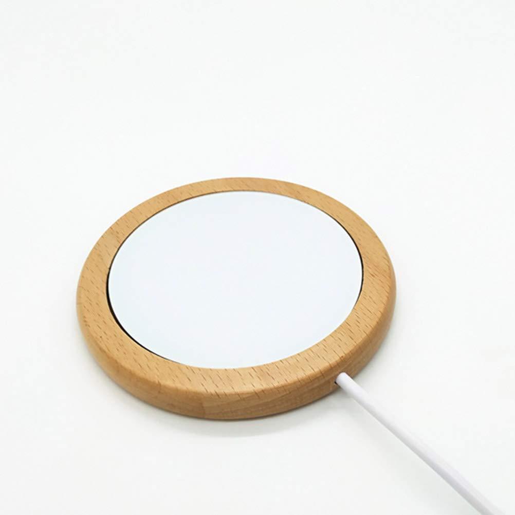 BESTONZON Scaldatazza Sottobicchiere USB con Base in Legno per Caff/è Bevanda Bianco