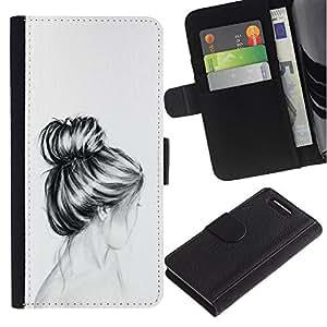 For Sony Xperia Z3 Compact Case , Bust Hair Head Pencil Drawing Sad - la tarjeta de Crédito Slots PU Funda de cuero Monedero caso cubierta de piel