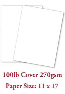 Amazon.com : Cardstock, 65 lb Cover, White, Tabloid Size 11 X 17 ...