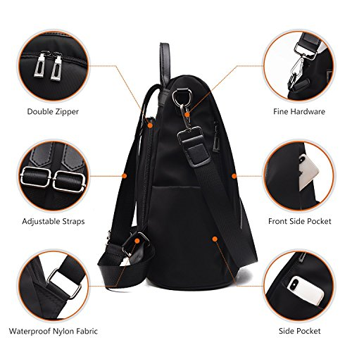Black Shoulder School Waterproof Dayback Women Rucksack Backpack Anti Nylon Bags theft Ladies bags Barwell wBpTOq1xP