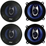 4) NEW PYLE PL53BL 5.25 400W 3-Way Car Audio Triaxial Speakers Stereo TWO PAIRS