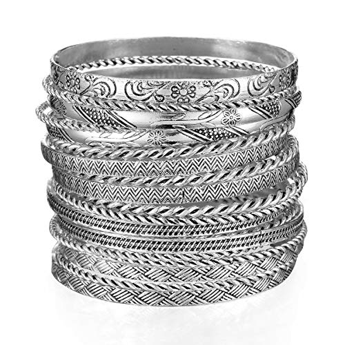 - Ensoul Antique Silver Color Flower Mixed Metal Aztec African Indian Vintage Multi Bangle&Bracelets for Women Set of 19