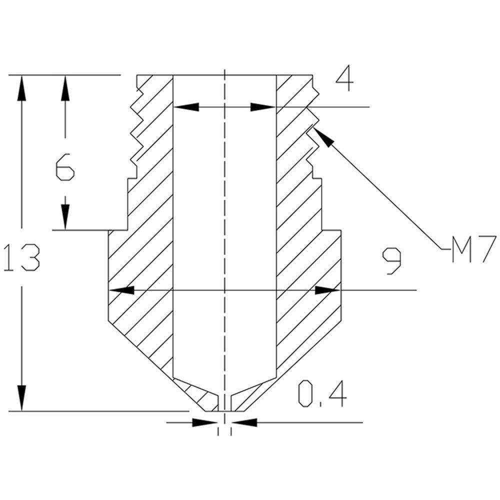 10pcs MK10 M7 Extruder Nozzle 0.4mm Brass Extruder Print Head for 3D Printer Wanhao Dupicator D4//I3//Dremel QIDI Makerbot 2 MK10 Nozzle for 3D Printer