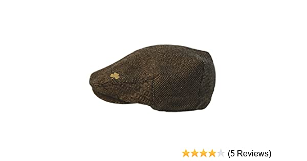 a5c3d6c3f Man Of Aran Brown Woven Tweed Flat Cap With A Small Shamrock Design