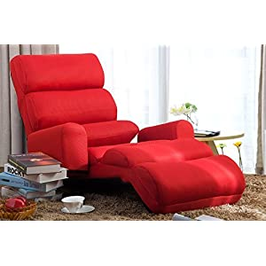 Merax Relaxing Foldable Lazy Sofa Chair with Pillow Stylish Sofa Beds Lounge Chair (Red)