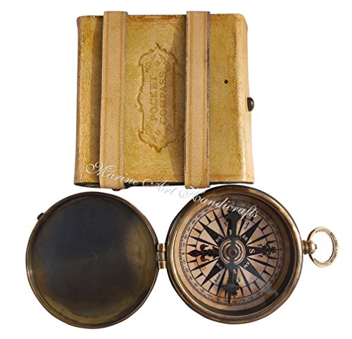 MAH ''Robert Frost Poem'' Engraved Antiquated Finish Brass Compass with Case. C 3241