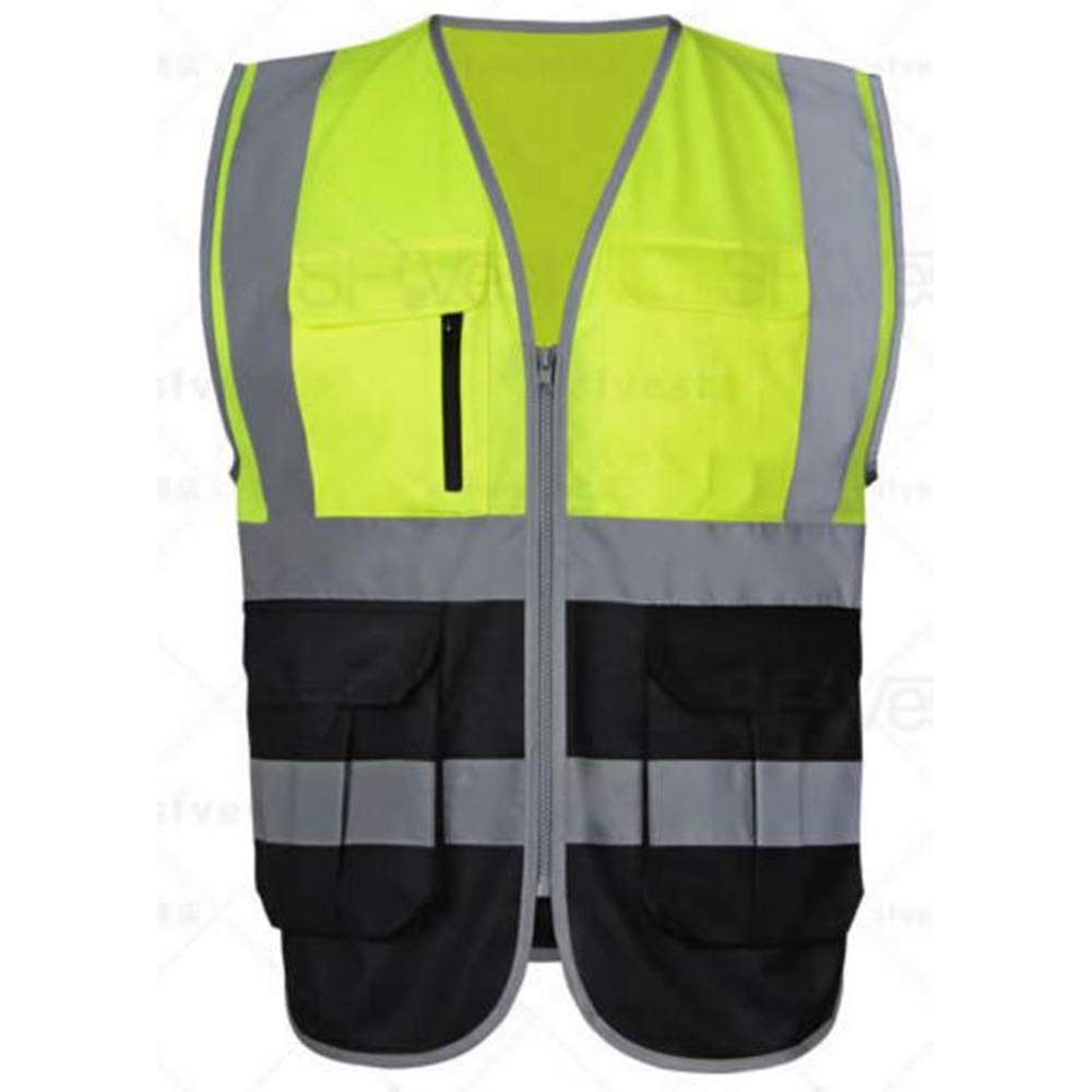 Meets ANSI Standards-Blue-M GOGO 9 Pockets High Visibility Zipper Front Safety Vest With Reflective Strips