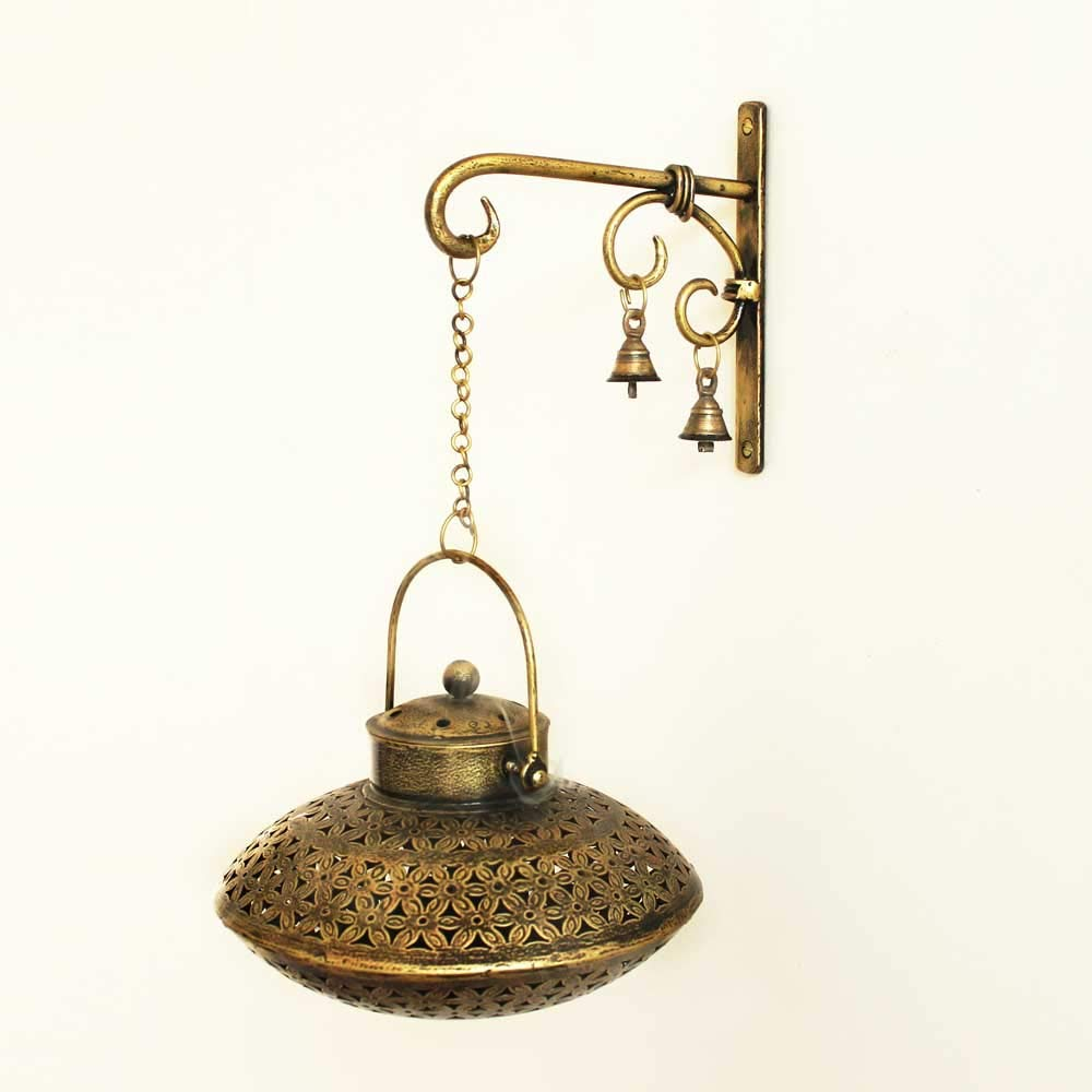 Giant Roots Handcrafted Iron Degchi Handi Pot - A Dhoop Incense Holder with Brass Bell Art Iron Hanger- 9''x9''x 6''