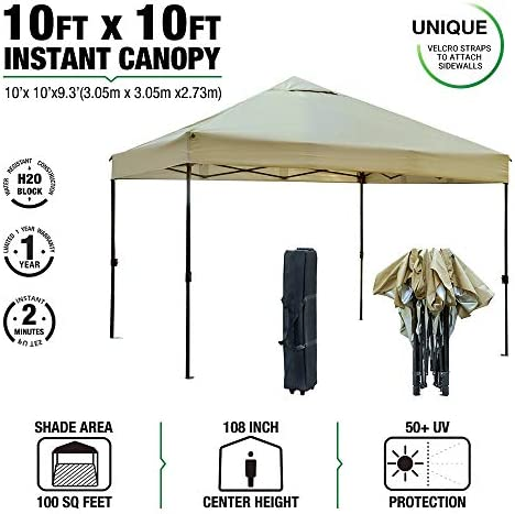 kdgarden 10 x 10 Outdoor Easy Pop Up Canopy Portable Event Party Shade Shelter Tent with Wheeled Carry Bag, Khaki