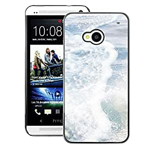 A-type Arte & diseño plástico duro Fundas Cover Cubre Hard Case Cover para HTC One M7 (Sea Pearly White Sun Summer Surf Waves)