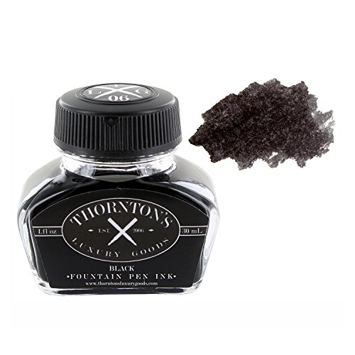 Picture Ink Pot - Thornton's Luxury Goods TLG-IB01 Fountain Pen Ink Bottle, 30ml - Black