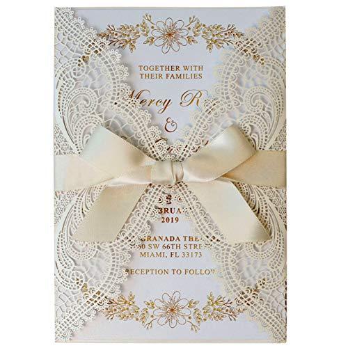 Picky Bride Laser Cut Wedding Invitations Bridal Shower Invite Cards Birthday Invitations Baby Shower Invitation Wedding Announcements Envelopes Included - Set of 50pcs