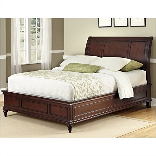 Bedroom Mahogany Sleigh Bed - BOWERY HILL Queen Sleigh Bed in Cherry