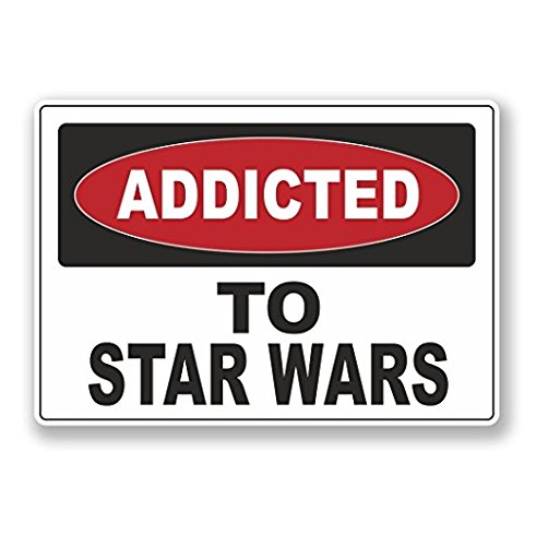 3 Pack - Addicted to Star Wars WINDOW CLING STICKER Car Van Campervan Glass - Sticker Graphic - Construction Toolbox, Hardhat, Lunchbox, Helmet, Mechanic, Luggage ()