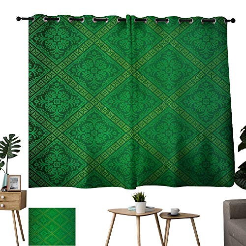 (Warm Family Yellow Curtains Green,Vector Illustration Seamless Pattern of Foliage Wallpaper Pattern Artwork Print,Forest Green 54