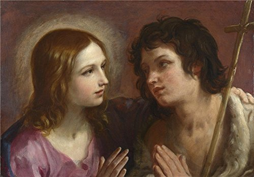 Oil Painting 'Guido Reni Christ Embracing Saint John The Baptist ' Printing On Polyster Canvas , 8 X 11 Inch / 20 X 29 Cm ,the Best Bathroom Decor And Home Artwork And Gifts Is This High Resolution Art Decorative Prints On Canvas