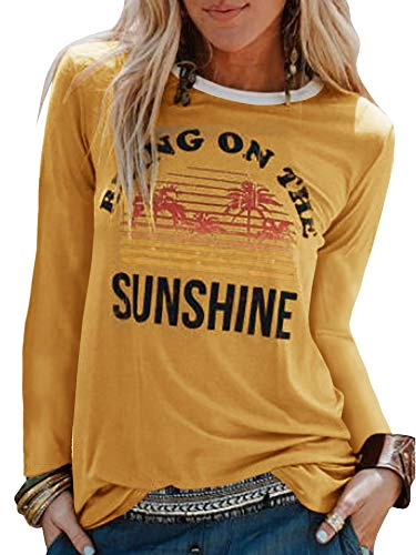 (Umeko Womens Bring On The Sunshine Graphic Tees Letter Printed Casual Loose Summer T-Shirt (Small, 4-Yellow))