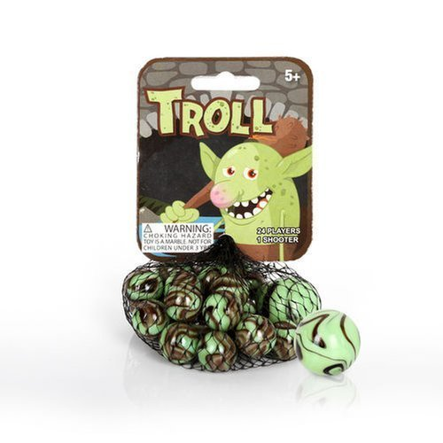 Mega Marbles - TROLL MARBLES NET (1 Shooter Marble & 24 Player Marbles) by Mega Marbles B01M36534I