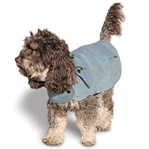 Handsome Hounds Wax Cotton Dog Rain Coat, XX-Large, Slate Blue
