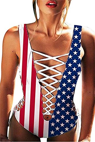 Bnice Womens Plunge V Neckless Bandage Monokini USA Flag Paddless Bikini Swimsuit