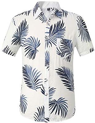 Leisurely Pace Men's Flower Casual Button Down Short Sleeve Hawaiian Shirt