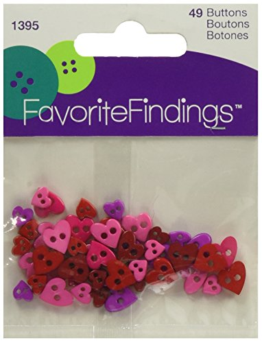 Blumenthal Lansing Favorite Findings Mini Shaped Buttons, Colorful Hearts 49/Pkg