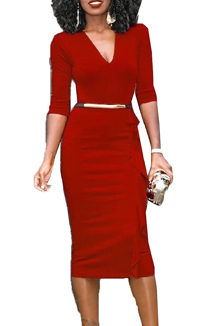 657ca28a3c desolateness Womens Solid Long Sleeve Skinny V Neck Bodycon Pencil Dresses  at Amazon Women s Clothing store