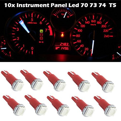 Partsam 10X Red 73 74 Twist Socket 1-5050-SMD Instrument Odometer Tachometer Panel Dashboard Light LED Bulb PC74 (1993 Jeep Grand Cherokee Speedometer Not Working)