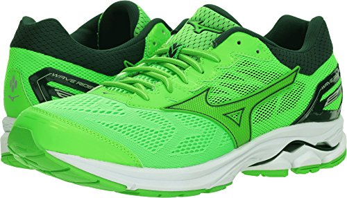 Mizuno Men's Wave Rider 21 Running Shoe, Green Slime-Green Gecko, 12 D (Green Wave)