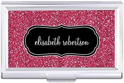 Elegant FAUX Pink Glitter 2 Business Card Holder Case