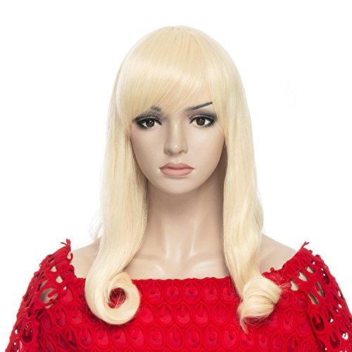 Price comparison product image DAOTS Medium Length Wig with Bangs Synthetic Curly Wigs for Women with Cap and Bobby Pins, Light Blonde