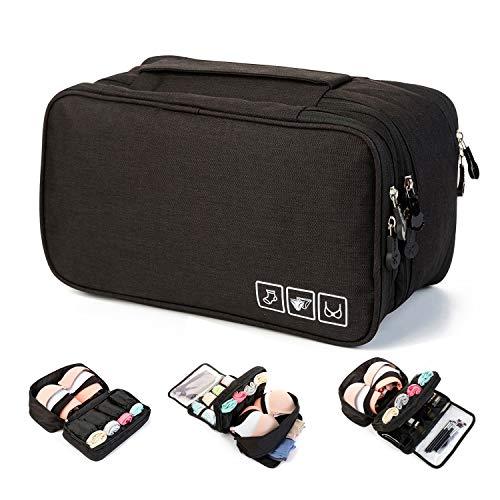 MODARANI Portable Bra Underwear Organizer Travel Toiletry Bag Makeup Organizer Case Black