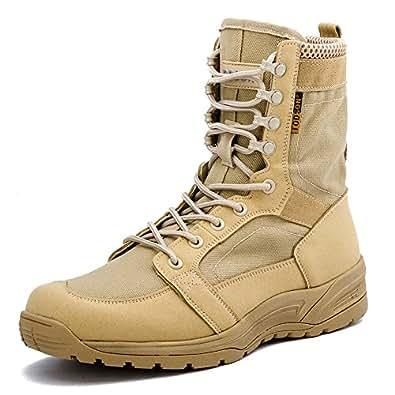 Botas Militares de los Hombres ultraligeros, Botas Tácticas de Combate Transpirables, Zapatos de Tobillo de Seguridad del ejército 852 (40 EU, Beige)