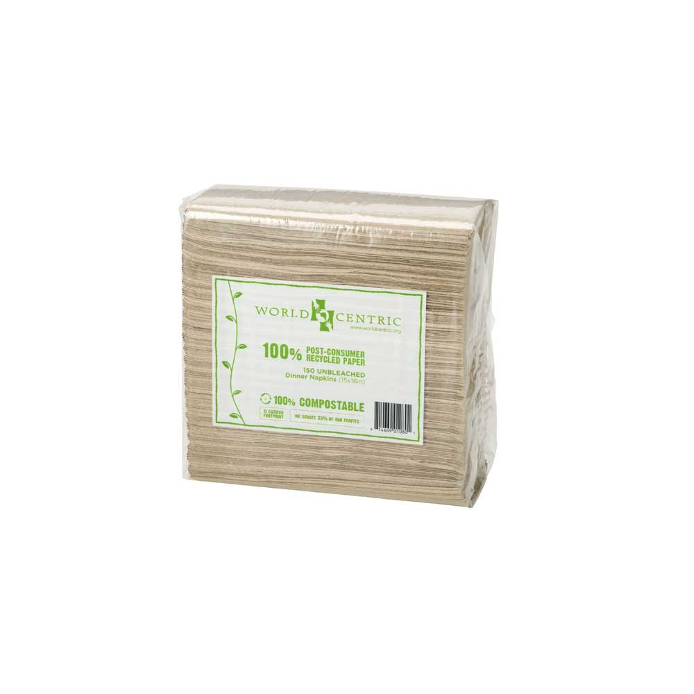 World Centric 2 Ply Compostable Unbleached Lunch Napkin, 13 x 13 inch - 5040 per case.