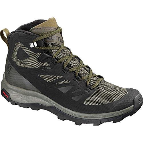 Salomon Men's Outline Mid GTX Hiking Shoe, Black/Beluga/Capers