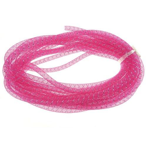 Firefly Imports Mesh Tubing Foil Deco Flex for Wreaths, Fuchsia, 3/8-Inch/10-Yard