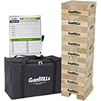Giantville Giant Tumbling Timber Toy - Jumbo Wooden Blocks Floor Game for Kids and Adults, 56 Pieces, Premium Pine Wood, Carry Bag, Life Size - Grows to Over 5-feet While Playing - by Giantville