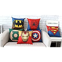 WeSurprise 18X18 Inches SuperHero Cotton Linen Throw Pillow Case Personalized Cushion Cover Set of 6 Home Office Indoor Decorative Square Bolster for Birthday, Festival Gift (Set of 6)