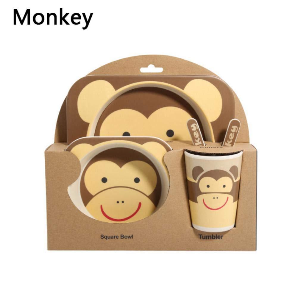 Ensemble de couverts pour enfants en fibre de bambou Cr/éation cr/éative bol coupe partition plaque cuill/ère fourchette tasse cadeau vaisselle cinq pi/èces