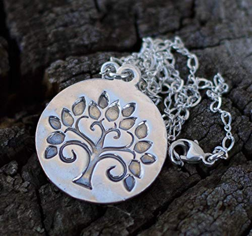 Tree of Life Sterling Silver Pendant Charm Necklace 16 inch Medallion