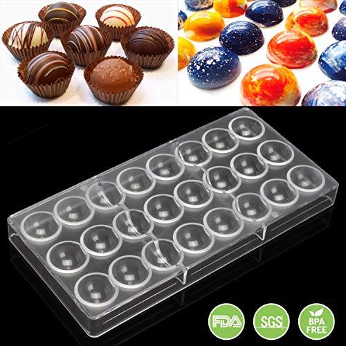 Jeteven Semi-Sphere Chocolate Mould PC Polycarbonate Chocolate Mold 24-Piece ()