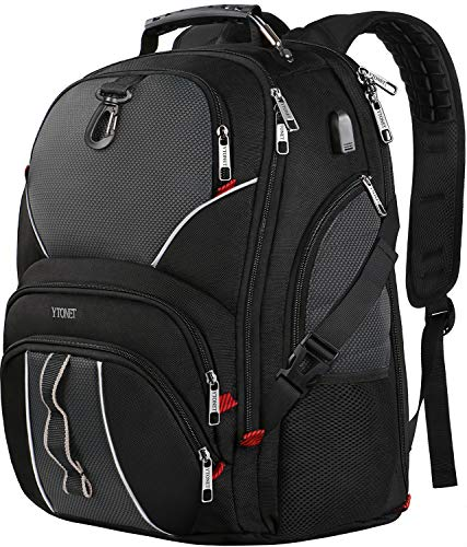 TSA Laptop Backpack, Extra Large College School Backpack with USB Charging Port, 50L Multi Functional Water Resistant Business Durable Travel Backpack for Men & Women, Fits 17 Inch Laptops,Black