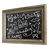 Rustic Wall Mounted Ash Gray Wood Framed Erasable Chalkboard, Cafe Menu Sign - 36 x 24