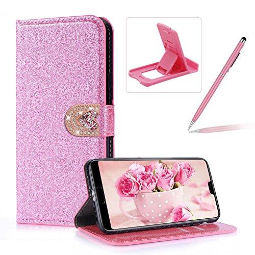 Case Huawei Flip Stylish Wallet Herzzer Case Premium for Leather Lite Soft Solid Huawei P20 Heart Protective with P20 Color for Rubber Lite Closure Purple Cover Inner Love Case Magnetic 3 Bling Glitter Stand YWwtOAwq