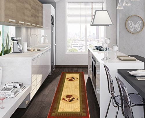 Ottomanson Siesta Collection Kitchen Rooster Design (Machine-Washable/Non-Slip) Runner Rug, 20
